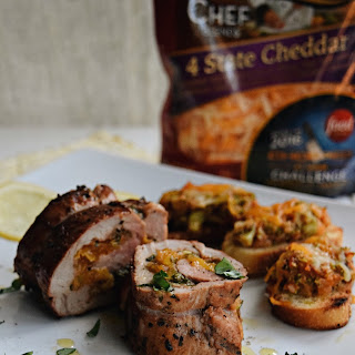 Sweet and Savory Stuffed Pork Loin and Grilled Vegetable Crostini.