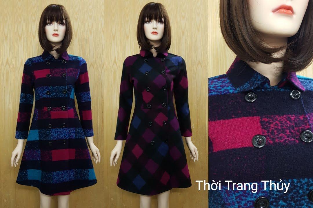 Váy xòe thu đông vải dạ hai hàng cúc V504 tại Hải Phòng