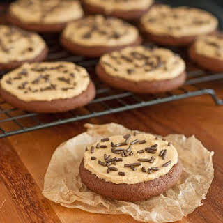 Chocolate Sugar Cookies with Peanut Butter Frosting (taste like Reese's).