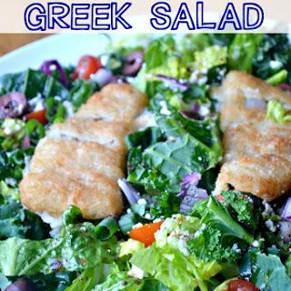 Crispy Fish Fillet Greek Salad.