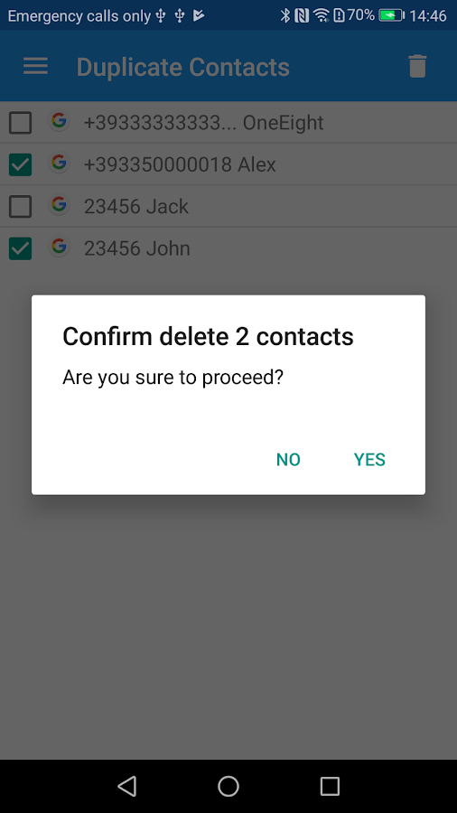 Duplicate Contacts- screenshot