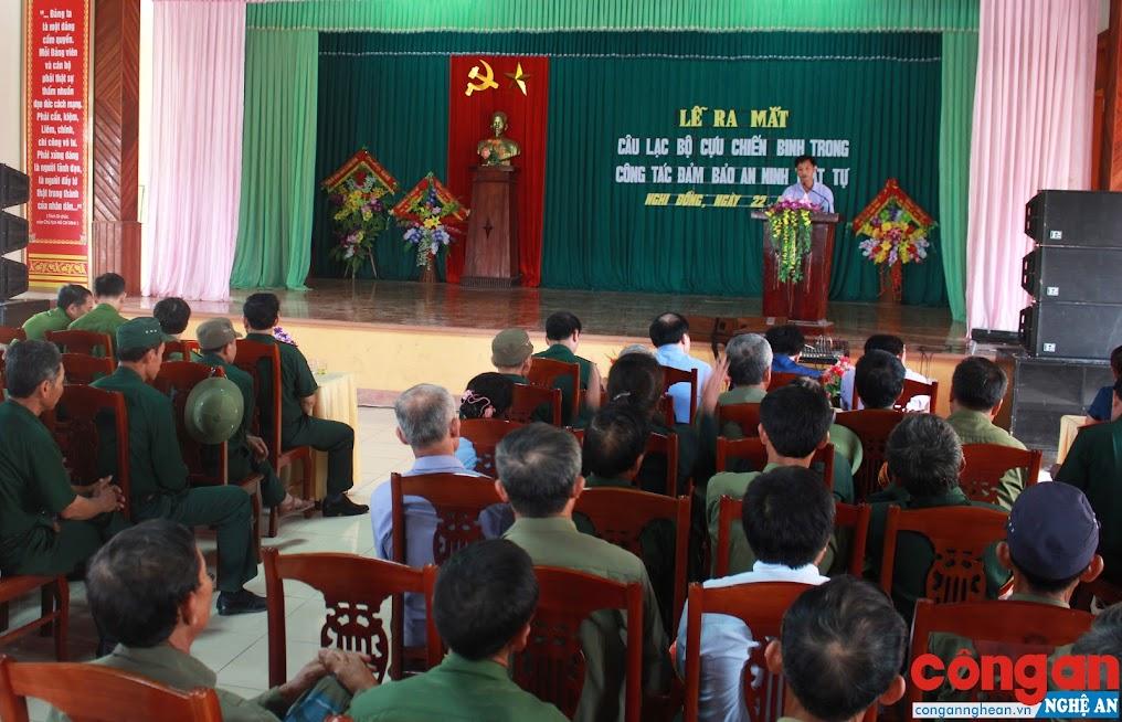 """Ra mắt mô hình """"Câu lạc bộ cựu chiến binh trong công tác đảm bảo ANTT"""" tại xã Nghi Đồng, huyện Nghi Lộc"""