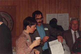 Photo: 1986. APLA-10. University of New Brunswick.Murray Kinloch Souvenir Album, 20  (left to right) Anne-Marie Grignon, Harold Paddock, Laszlo Szabo  Photograph by Jean Kinloch, caption by Murray Kinloch
