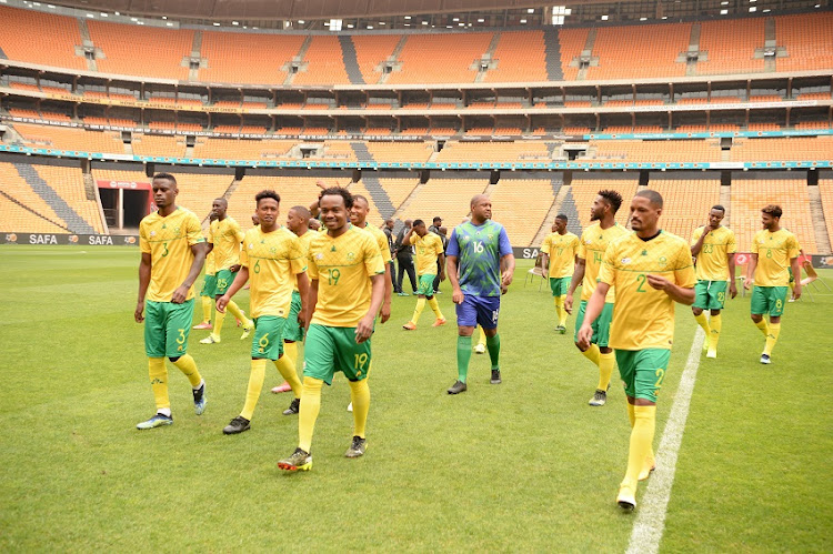Bafana Bafana players during a training session at FNB Stadium on March 24 2021 in Johannesburg.