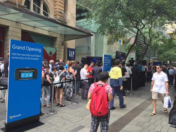 Microsoft fans queue for the flagship store opening ceremony at 11.30am in Sydney.