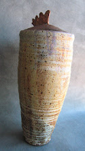 """Photo: This is my rice jar. 34 cm tall. It's important because I made this glaze with sand from the beach near my teenage years home. In Lincoln City OR. The speckles are manganese, they can be easily separated from the other sand with a magnet. """"er.. on the beach, not fuzed onto this high fire jar :-)"""""""