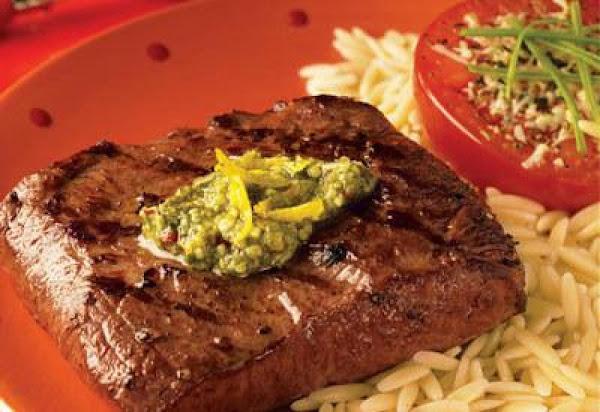 Spicy Lemon Pesto Flat Iron Steaks Recipe