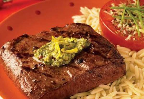 Spicy Lemon Pesto Flat Iron Steaks Recipe