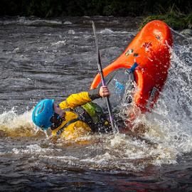 White water Canoeist by Andrew Lancaster - Sports & Fitness Watersports ( sportsman, water, splash, waterscape, waves, sport, canoe, helmet, white water, paddle,  )
