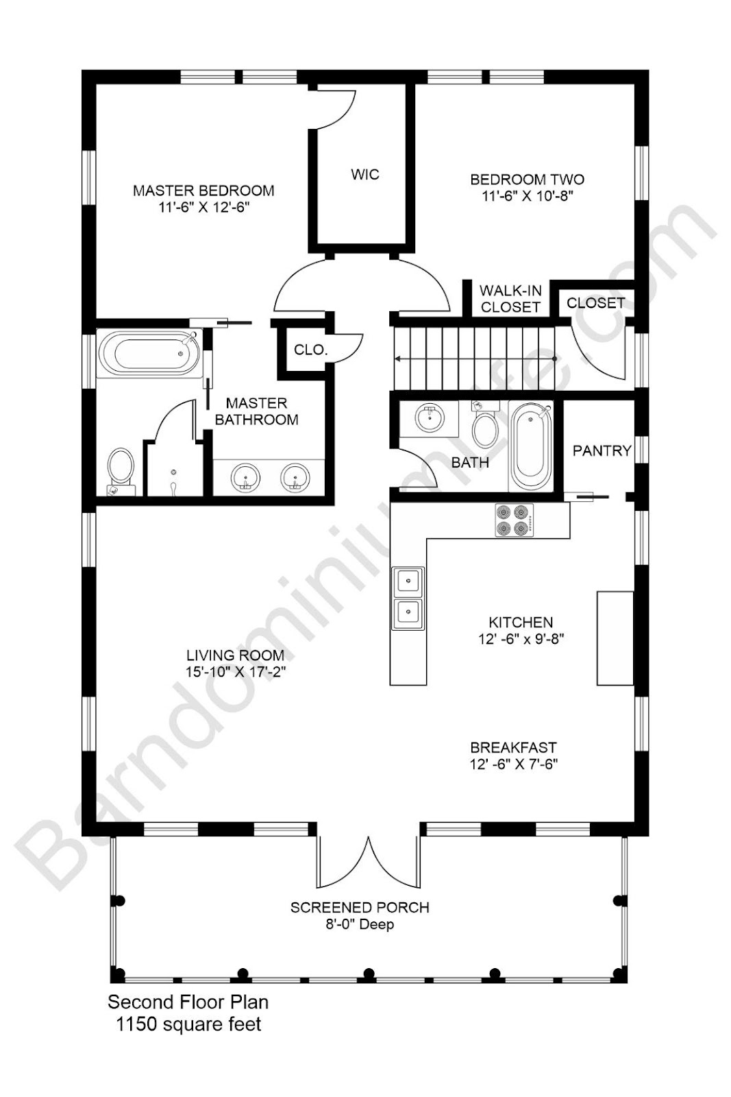 2 bedroom barndominium floor plan