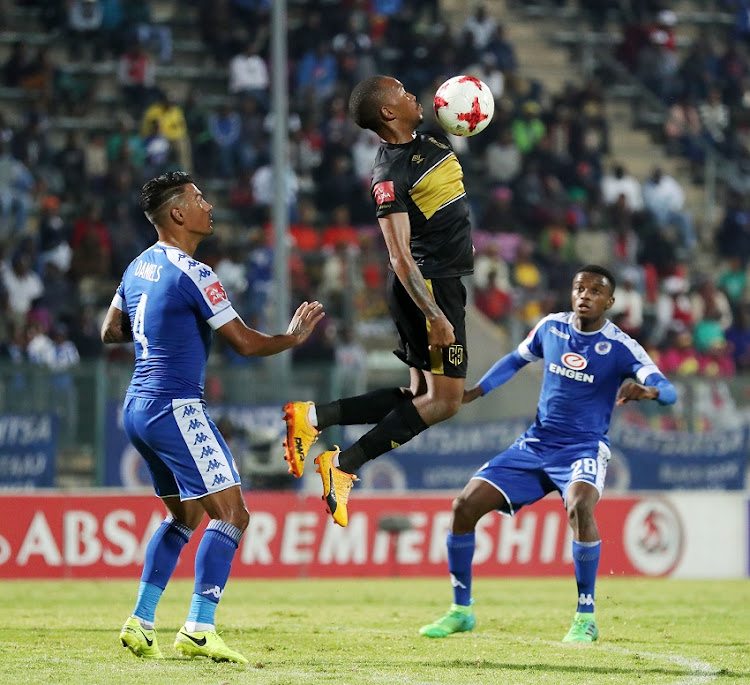 Lehlohonolo Majoro of Cape Town City FC challenged by Daniels Clayton of Supersport United during the Absa Premiership 2016/17 match between Supersport United and Cape Town City at Lucas Moripe Stadium in Pretoria, South Africa on 09 May 2017.