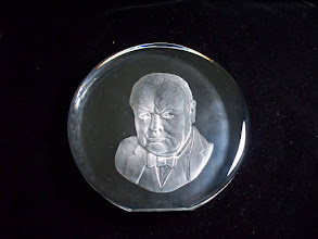 Photo: CHURCHILL CENTENARY BORN 1874 R STRAND 574/5000 R Strand is Rune Strand, who worked/designed for Scandinavian glass houses Strombergshyttan, Sea Glasbruk and Hovmantorp  The plaque would have actually been made in 1973 early 74 to be released in 1974. The research i have done says that Rune Strand was working for Strombergshyttan in these years. Also the style of the writting is very much like strombergshyttan etched mark.  These plaques have also been linked to Dartington glass, where they where apparently sent over from Sweden and finished off at Dartington