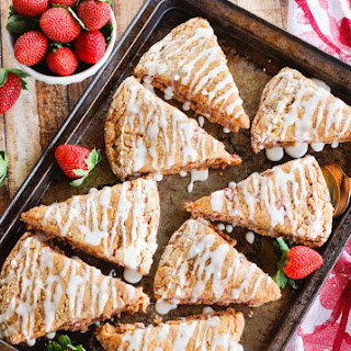 Whole-Wheat Strawberry Ricotta Scones with a Lemon Glaze