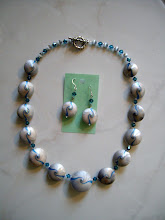 "Photo: PCS- 103 Necklace and earrings set. Polymer Clay beads & crystal beads. 21"" long. $89.00"