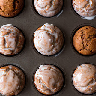 One Bowl Pumpkin Gingerbread Muffins with Maple Vanilla Glaze