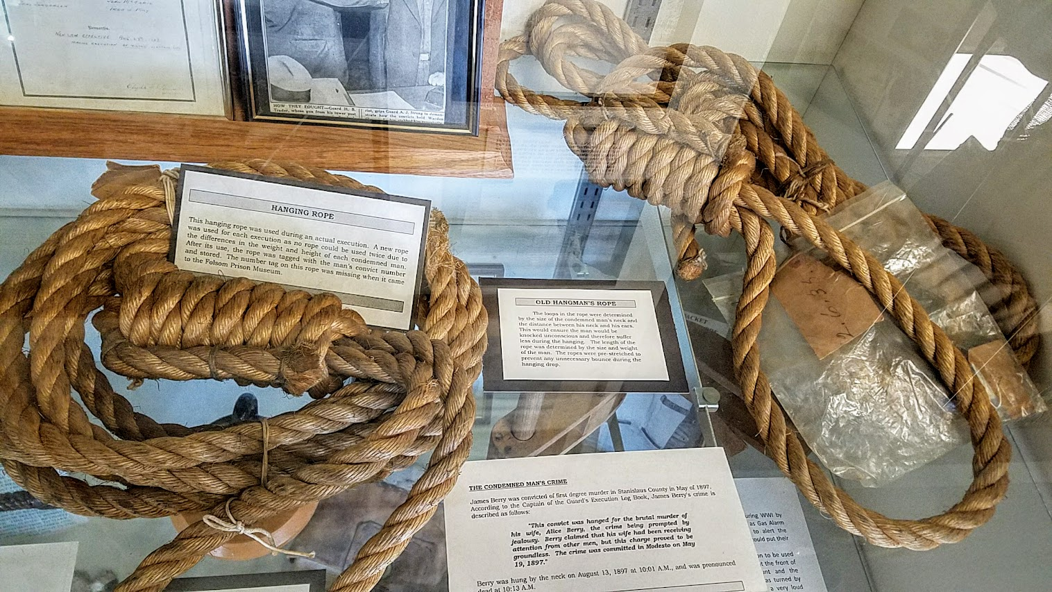 Hanging Ropes from executions. A new rope is used for each execution as no rope could be used twice due to the difference in the weight and height of each condemned man. After its use, the rope was tagged with the man's convict number and stored. From a display case while visiting the Folsom Prison Museum