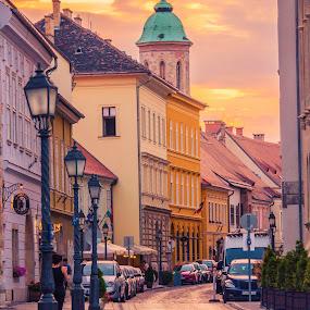 sunset in Budapest by Mo Kazemi - City,  Street & Park  Street Scenes ( budapest hungary, city, golden hour, street, lamp post, sunset, cityscape, magic hour, budapest, europe, street photography, hungary,  )