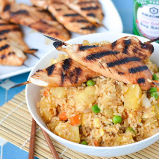 Pineapple Fried Rice with Pineapple-Soy Glazed Chicken Skewers