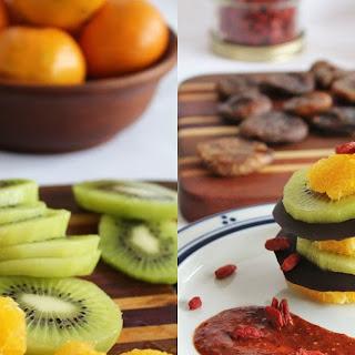 Spiced Chocolate Layered With Kiwi, Figs & Orange