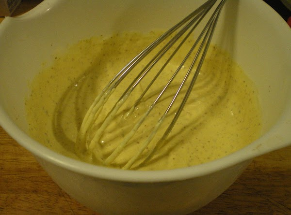 While potatoes are cooking assemble sauce.  In a small bowl combine mustard, mayonnaise,...