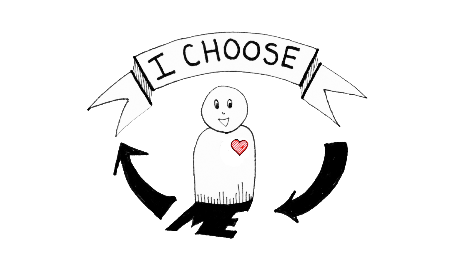 """A happy, confident weeble person representing the author sits under a banner that reads I Choose. The banner then points to the weeble's shadow, which is in the shape of the word """"ME"""""""