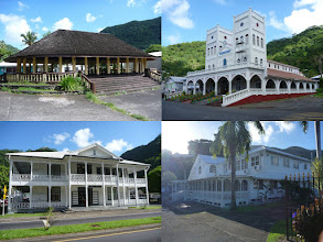 "Photo: Pago Pago, AS - June 20, 2013 - [tl] A ""fale"" (meeting house) where village leaders would meet and talk/gossip  [tr] Many of the churches have twin bell towers  [bl] Old court house  [br] The Lt Governors House looks regal"