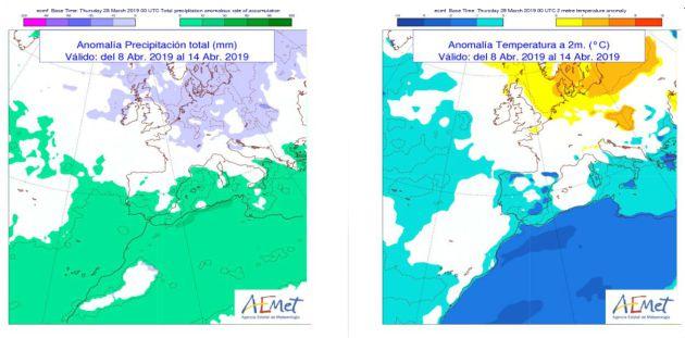Tendencia general de temperaturas y lluvias para la semana del 8 al 15 de abril. / Aemet