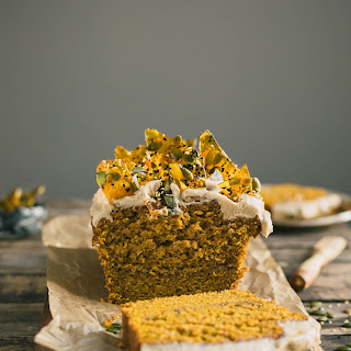 Pumpkin Bread with Cream Cheese Frosting & Pumpkin Seed Toffee.