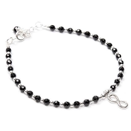 Agat svart, silverarmband med evighetssymbol
