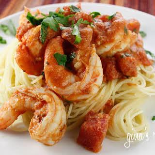 Angel Hair with Shrimp and Tomato Sauce.