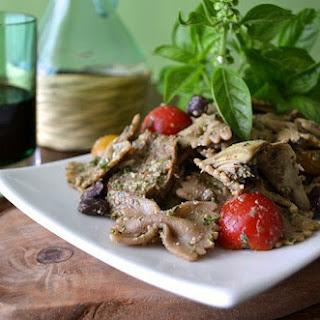 Kale-Basil Pesto Pasta with Apple-Sage Sausage [Vegan].