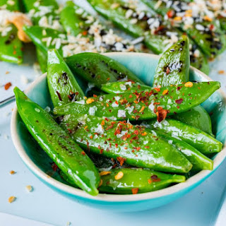 Grilled Peas with Toasted Coconut + Cashews.