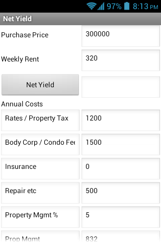Property Yield- screenshot