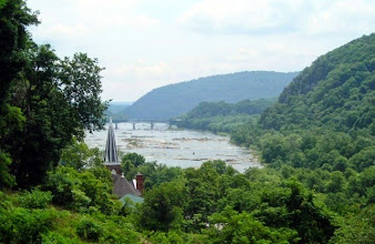 Photo: The view from Jefferson Rock, Harpers Ferry, WV. (See http://en.wikipedia.org/wiki/Jefferson_Rock ) Today, the trees hide the confluence of the Shenandoah and Potomac Rivers.