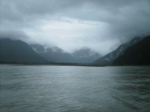 Photo: The Katzehin River flowes into Chilkoot Inlet through the Kakuhan Mountains.