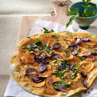 Sweet Potato Pizza with Red Onion.