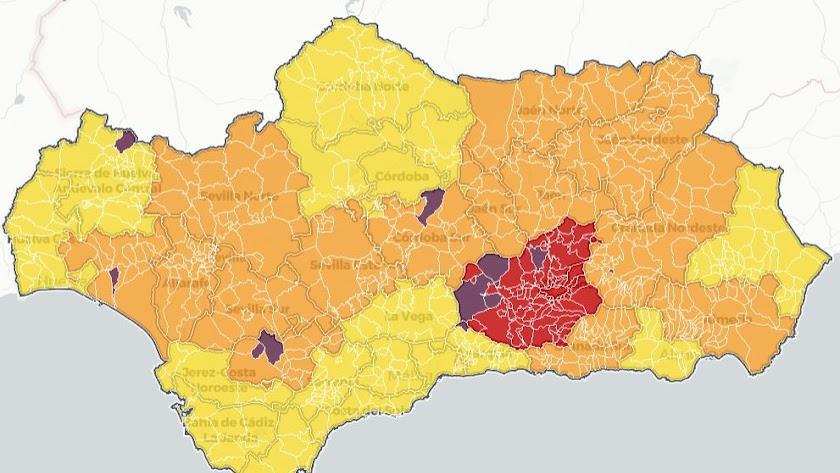 Mapa con los niveles de alerta en las provincias de Andalucía.