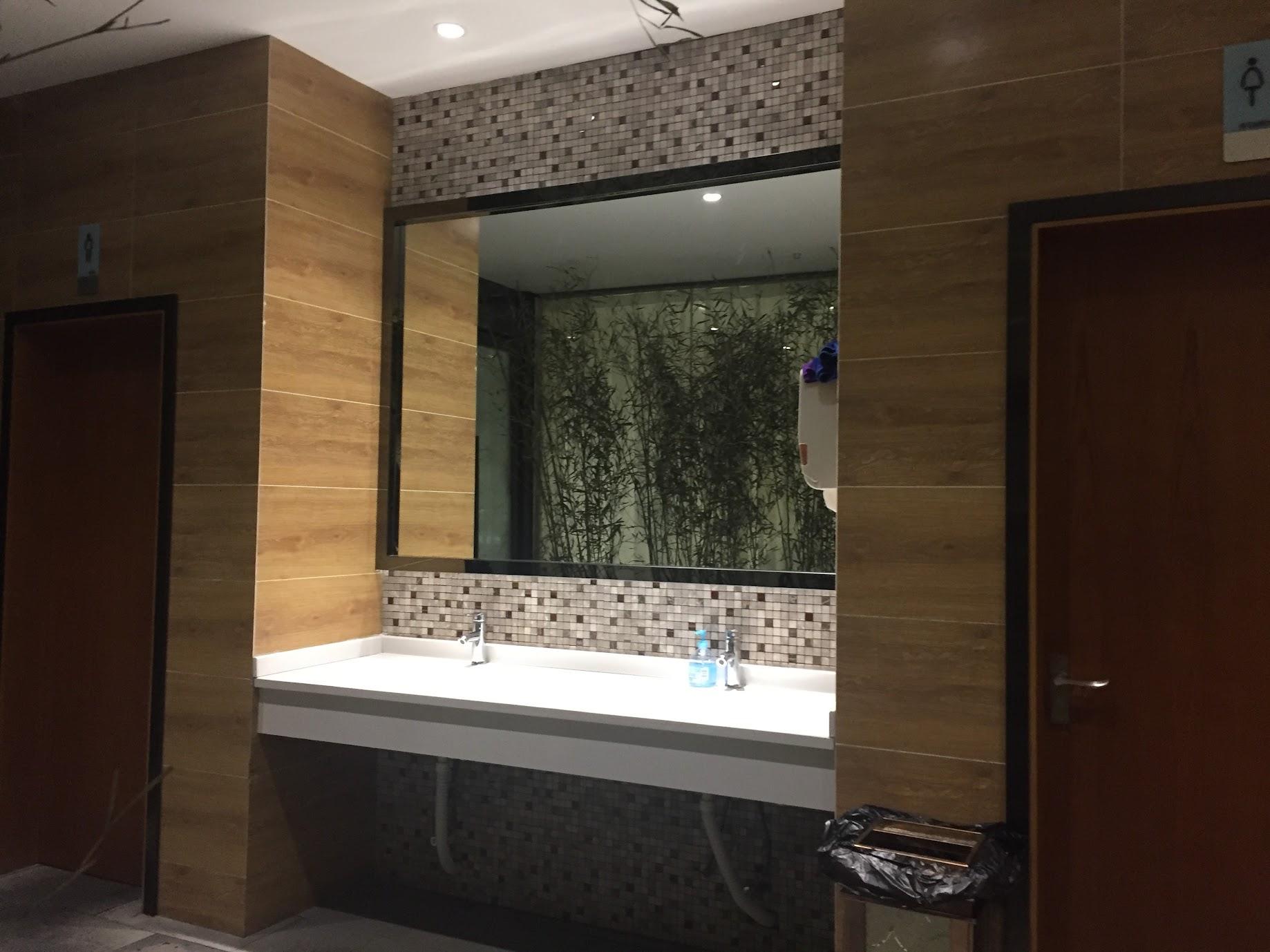 중국 청두 화장실의 공동세면대