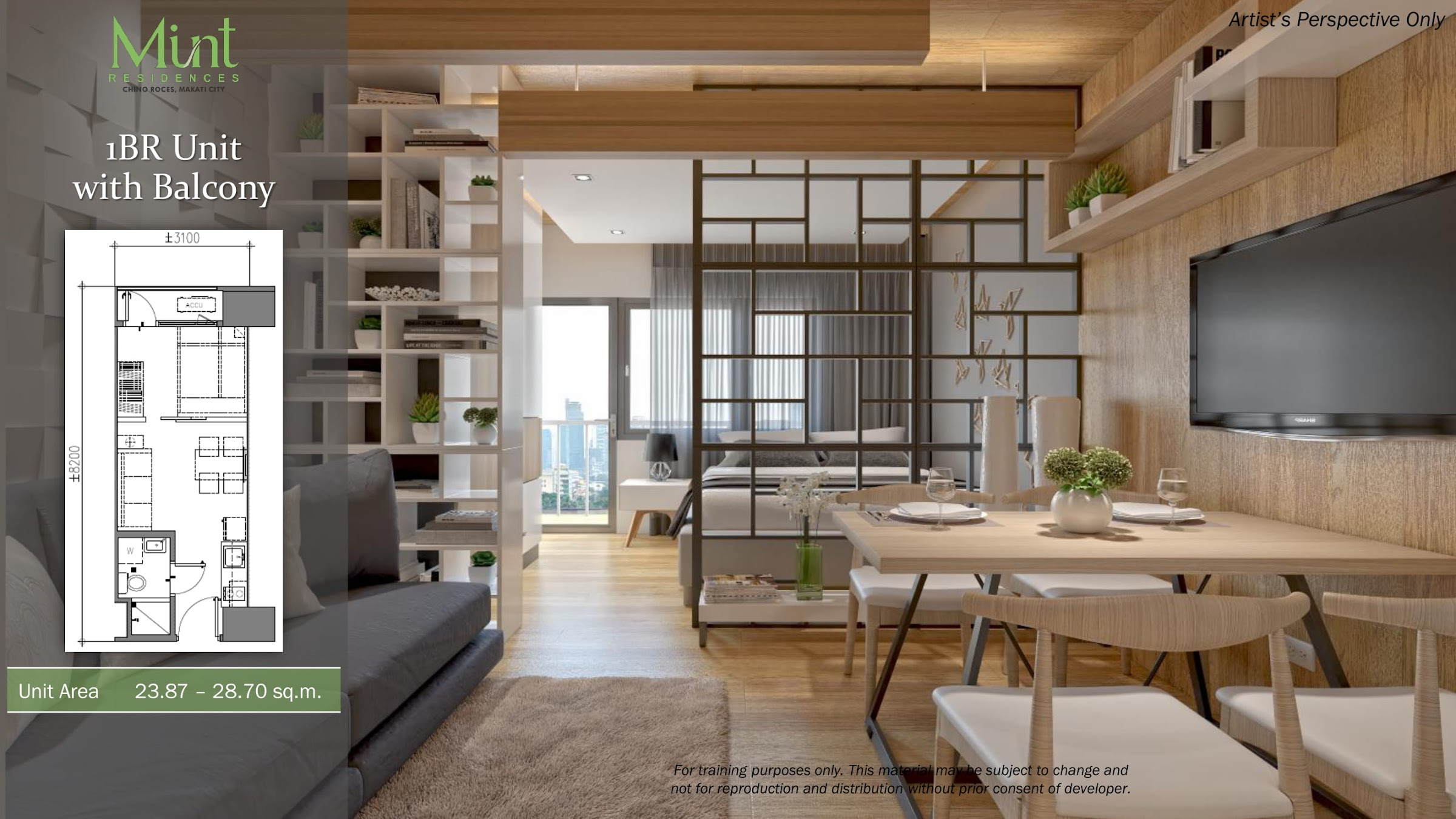 Mint Residences, Chino Roces Makati 1 bedroom with balcony
