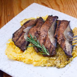 Portobello Mushroom Steaks With Cheesy Rosemary Polenta [Vegan]
