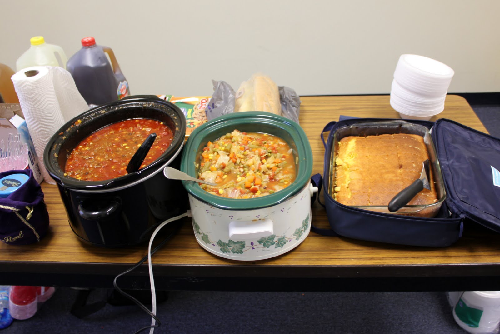 Photo: On time lunch ready at 12:57.  Libby made the cornbread and she & Randy brought spoons, bowls, and tea.