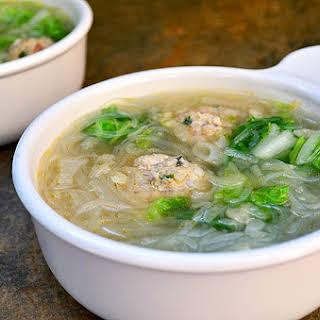 Sotanghon at Bola Bola Sopas (Cellophane Noodles and Meatball Soup).