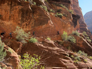 Photo: Hikers along the cliff trail...