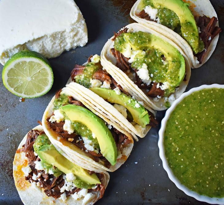 Slow Cooker Beef Barbacoa Tacos with Tomatillo Salsa Recipe