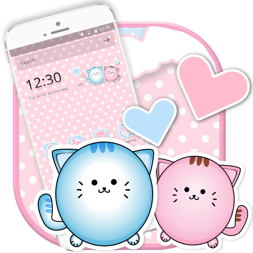 Cute Kitty Pink Cat Launcher Theme