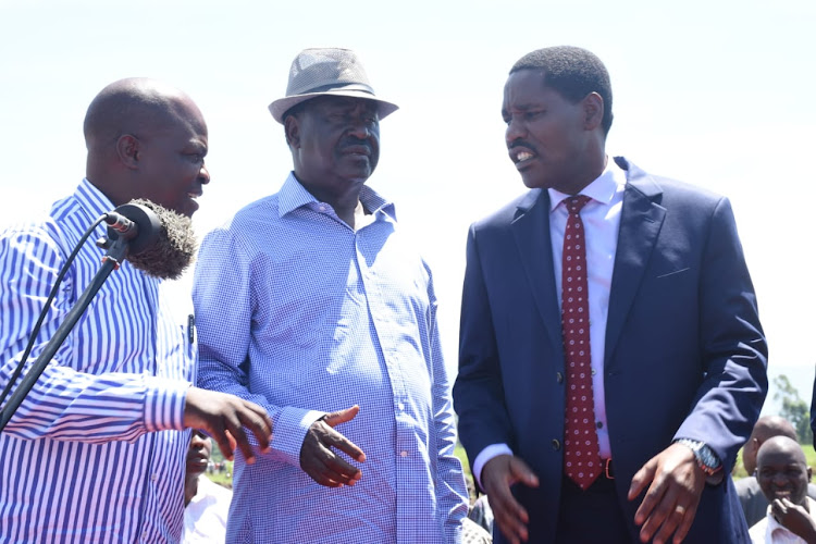 Kisumu Deputy Governor Mathews Owili with ODM leader Raila Odinga and Industrialisation CS Peter Munya in Muhoroni, Kisumu on Monday May 13, 2019