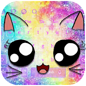 Galaxy Kitty Big Eyes Keyboard Theme