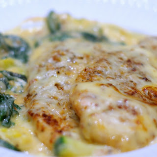 Cheesy Chicken with Spinach, Zucchini and Squash.