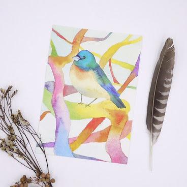 #postcard #bird #poweranimal #feather #flower #fallingleavesstudio #tree