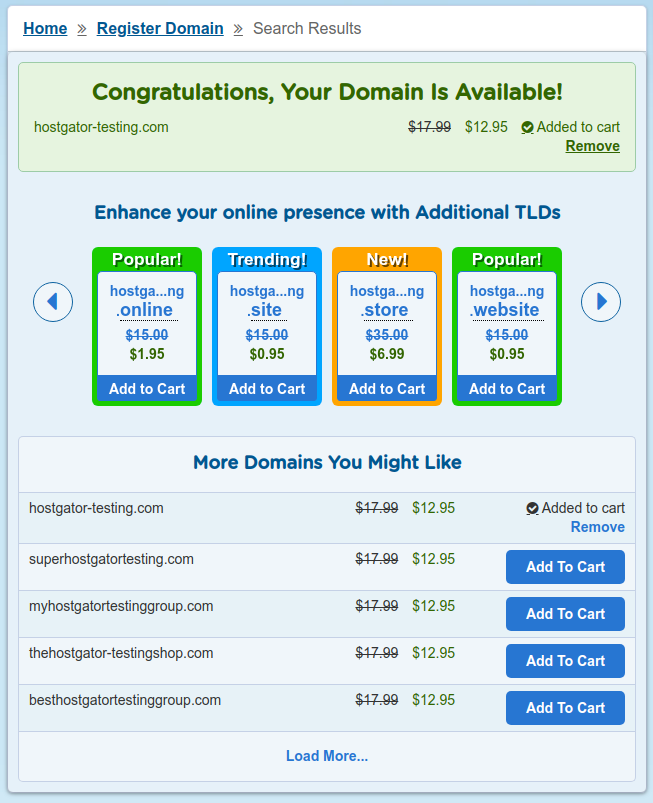 hostgator domain pricing